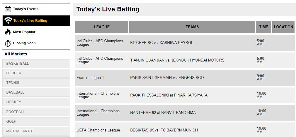 bookmaker live betting screenshot